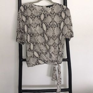 Olivaceous Snakeskin Print Top